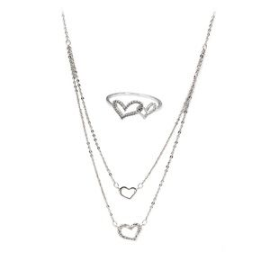 Double layer mini heart necklace ring set